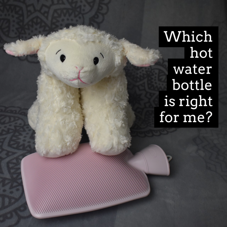 Furry sheep on hot water bottle