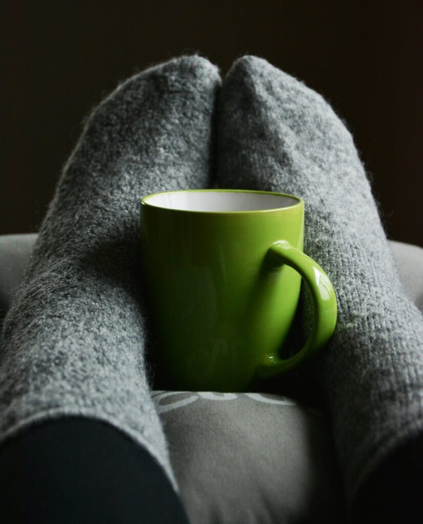 Socks with coffee mug
